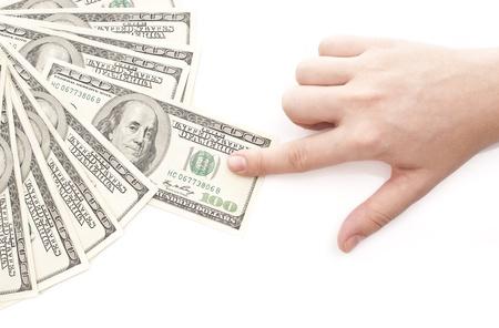 Grabbing money isolated on white background