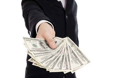 Money in human hands isolated on white background Stock Photo
