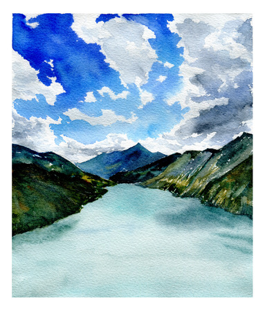 mountains and sky: Watercolor landscape. Lake and mountains. Sky and clouds. Georgia Stock Photo