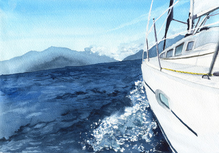 Watercolor landscape with boat, sea, mountains, sky.