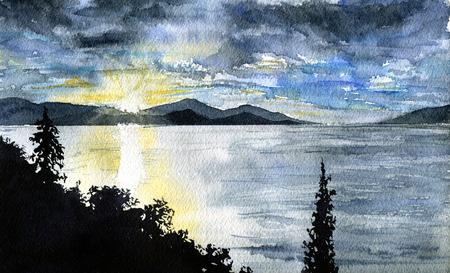 sunrise clouds: Watercolor sunrise with sky and clouds. Landscape. Corfu, Greece