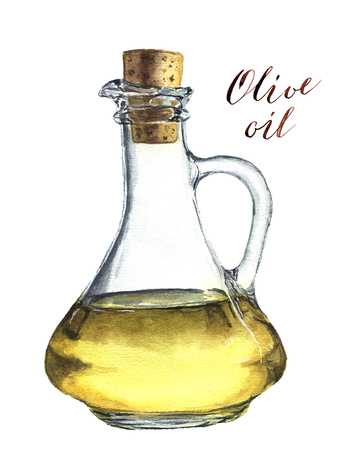 salad dressing: Watercolor bottle of olive oil. Realistic illustration. Stock Photo