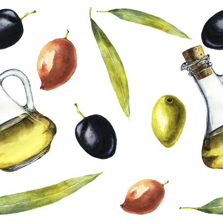 Watercolor pattern with olive oil, olives and leaves