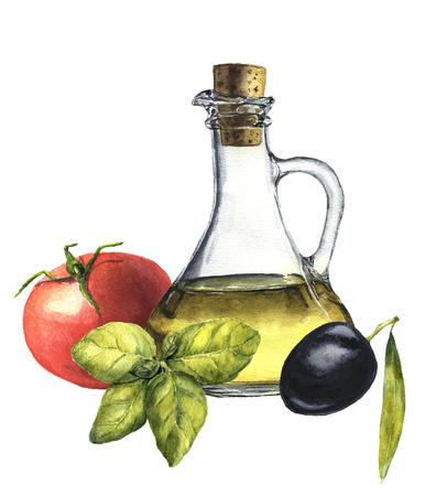 mediterranean food: Watercolor mediterranean popular food: tomato, basil, olive and olive oil. Botanical illustration.