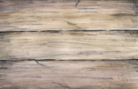 grained: Wood texture with old painted boards. Watercolor hand drawing artistic realistic illustration for design, background, textile. Stock Photo