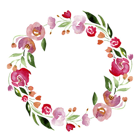 Watercolor hand-drawn flower wreath for design. Artistic isolated illustration.