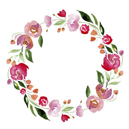 Aquarel hand getekende bloem krans voor het ontwerp. Artistieke geïsoleerde illustratie. Stockfoto