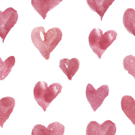 Watercolor hand-drawn pattern with hearts. For design, background and textile.
