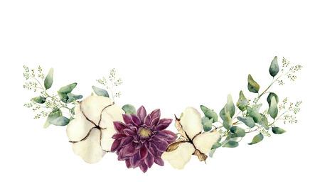 수채화 꽃 요소 흰색 배경에 고립입니다. 빈티지 스타일은 endeed 유칼립투스 나뭇 가지와 나뭇잎, 목화 꽃으로 설정합니다. 자연 손 설계를위한 객체를