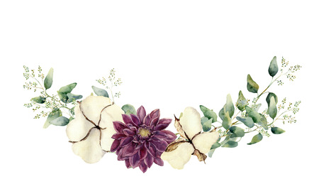 dahlia: Acuarela elementos florales aislados sobre fondo blanco. estilo de la vendimia fijado con ramas y hojas de eucalipto endeed, flores de algodón. pintado a mano natural objeto de diseño. Foto de archivo