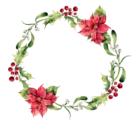 Watercolor christmas wreath with holly, mistletoe and poinsettia. Hand painted christmas floral border isolated on white background. Botanical illustration for design. Zdjęcie Seryjne - 64301016