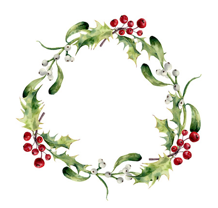 Watercolor christmas wreath with holly and mistletoe. Hand painted christmas floral border isolated on white background. Botanical illustration for design. Stock Photo