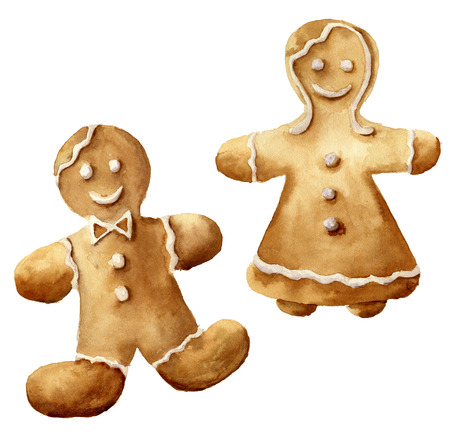 64300289 watercolor christmas gingerbread man set hand painted gingerbread man and women isolated on white bajpgver6 - Christmas Gingerbread Man