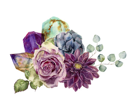 minerals: Watercolor bouquet of flowers, succulents, eucalyptus and gem stones. Hand drawn composition isolated on white background. Minerals and plants design.