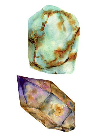 jade: Watercolor gem stones set. Jade turquoise and rauchtopaz stones isolated on white background. For design, prints or background.