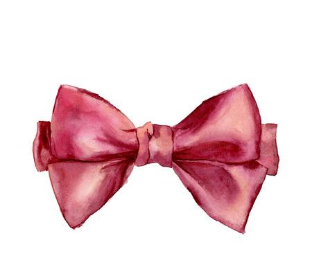 Waterverf het roze strik. Met de hand beschilderd gift boog op een witte achtergrond. Partij of groet object. Stockfoto