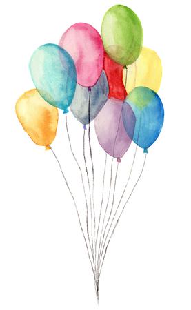 水彩気球。手描きの白い背景に分離された青、ピンク、黄色、紫の風船のイラスト。パーティーや挨拶オブジェクト。 写真素材