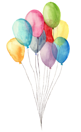 Watercolor air balloons. Hand painted illustration of blue, pink, yellow, purple balloons isolated on white background. Party or greeting object. Stock fotó