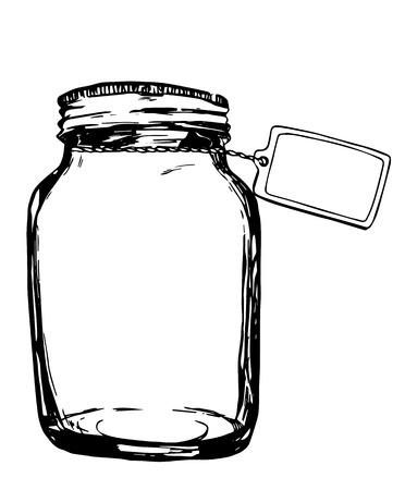 food preservation: Vector jar with label. Hand-drawn artistic illustration for design, textile, prints