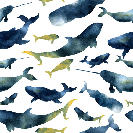 orca: Watercolor seamless pattern with silhouettes of whales. Illustration with blue whales, cachalot, orca and narwhal isolated on white background. For design, prints or background. Stock Photo