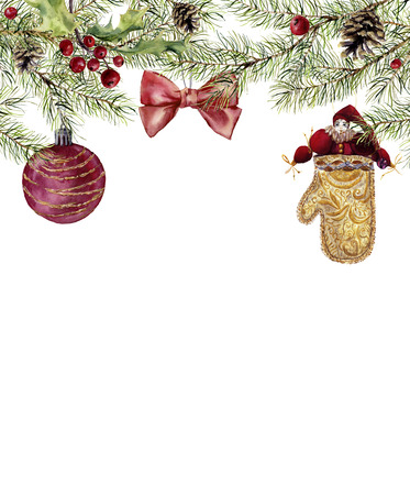 Watercolor christmas invitation with toy. Fir branch with holly, christmas ball, bow and vintage toy. New year tree border with decor for design, print or background. Stock Photo