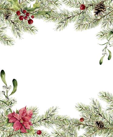 수채화 크리스마스 초대. 홀리, 미 슬 토와 세 티아와 전나무 지점. 디자인, 인쇄 또는 배경 장식 새 해 나무 테두리. 스톡 콘텐츠