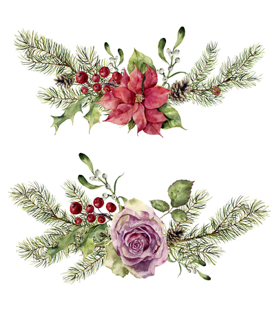 Watercolor winter floral elements isolated on white background. Vintage style set with christmas tree branches, rose, holly, mistletoe, poinsettia flower, leaves. Flower hand painted design. Standard-Bild