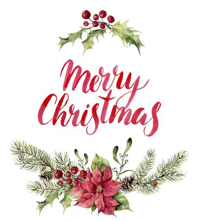 flor de pascua: Acuarela navidad estampado floral Witn Feliz Navidad letras. rama de árbol de año nuevo con el poinsettia, el muérdago, el acebo y conos para el diseño, impresión o de fondo.
