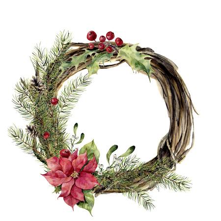 装飾が施された水彩画のクリスマス リース。新年のツリー、ヒイラギ、ヤドリギの設計、ポインセチアと木の枝の花輪を印刷または背景します。 写真素材
