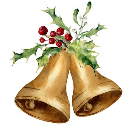 水彩クリスマス ベル ヒイラギとヤドリギの装飾が施されました。伝統的な装飾が施された白い背景で隔離の金鐘。デザイン、プリントまたは背景。 写真素材