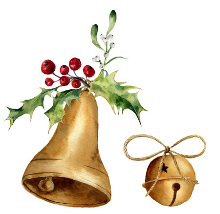 Watercolor christmas bell set with mistletoe and holly decor. Gold bells isolated on white background. For design, prints or background. Фото со стока