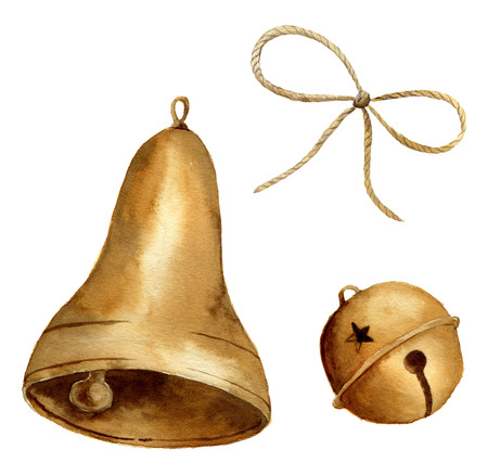 Akwarela christmas dzwonek ustawiony. Złote dzwony na białym tle. Do projektowania, grafiki lub tła.