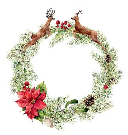 Watercolor christmas wreath with deers, holly, mistletoe and poinsettia. New year tree branch wreath for design, print or background.