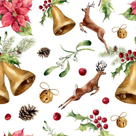 flor de pascua: Acuarela de Navidad sin patrón, con ciervos y decoración. Nuevo ornamento del árbol de año con los ciervos, campana, acebo, muérdago, flor de pascua, rodaja de naranja, piña y el arco para el diseño, impresión o de fondo.