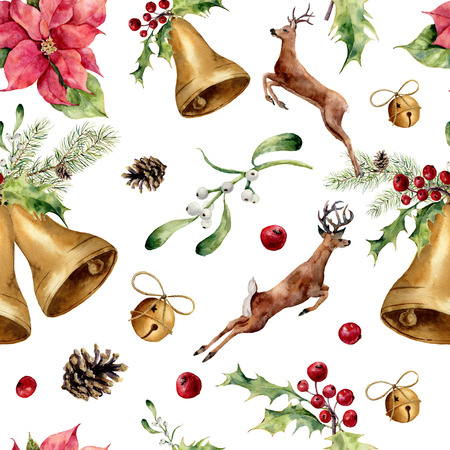 orange slice: Watercolor christmas seamless pattern with deers and decor. New year tree ornament with deer, bell, holly, mistletoe, poinsettia, orange slice, pine cone and bow for design, print or background.