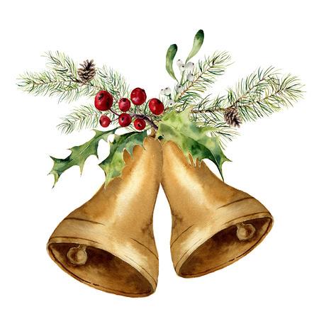 수채화 크리스마스 벨 크리스마스 트리 분기, 미 슬 토와 홀리 장식. 흰색 배경에 고립 된 전통적인 장식 골드 종소리. 디자인, 지문 또는 배경.