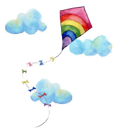 Impresión de la acuarela con la cometa de aire de arco iris y las nubes. Dibujado a mano la cometa de la vendimia con banderas y guirnaldas diseño retro. Ilustraciones aisladas sobre fondo blanco.