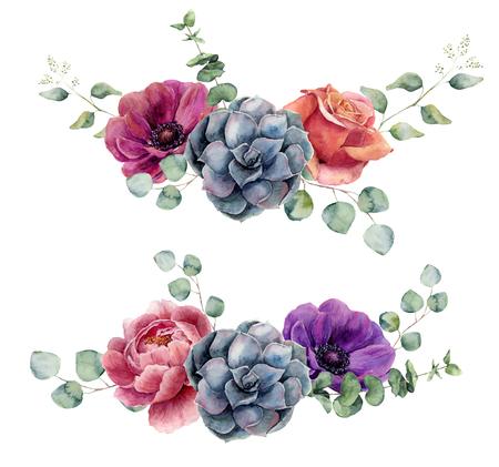 水彩花要素を白い背景に分離します。ユーカリの枝、薔薇、多肉植物、牡丹、アネモネの花入りビンテージ スタイルの花束を残します。花の手描き 写真素材