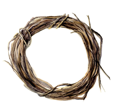 Watercolor hand painted wreath of twig. Wood wreath for design and background. Stock Photo