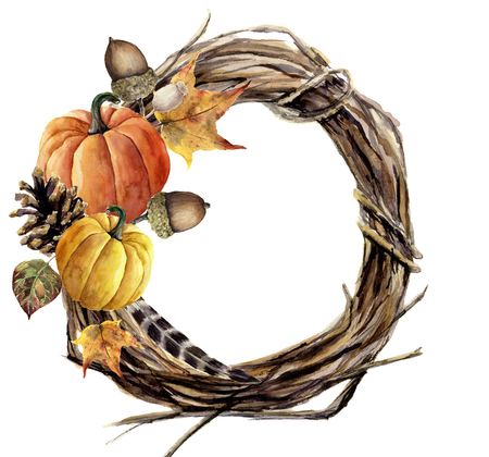 Watercolor hand painted autumn wreath of twig. Wood wreath with pumpkin, pine cone, fall leaves, feather and acorn. Autumn illustration for design and background.