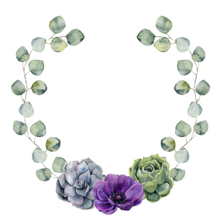 Watercolor floral border with silver dollar eucalyptus leaves, succulent and anemone flower. Hand painted wreath with branches of eucalyptus isolated on white background. For design or background. Foto de archivo