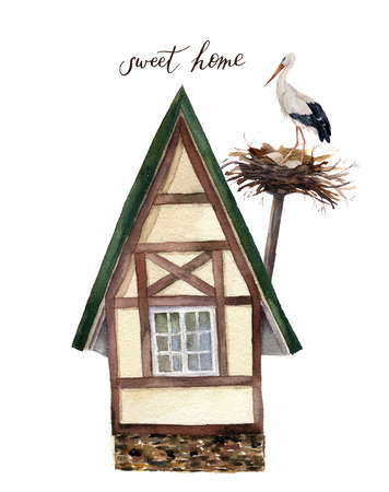 Watercolor sweet happy home with white stork and nest illustration. Watercolor house in Alpine style with white stork isolated on white background. Hand painted print. For design and background