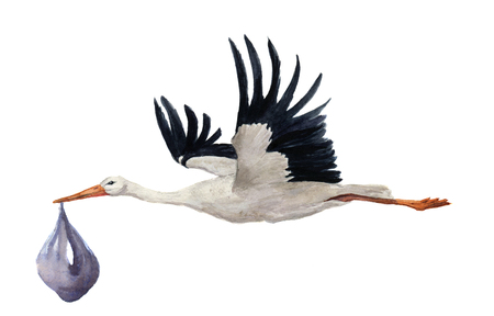Watercolor hand painted flying white stork with boy baby. Hand painted ciconia bird illustration isolated on white background. For design, prints or background.