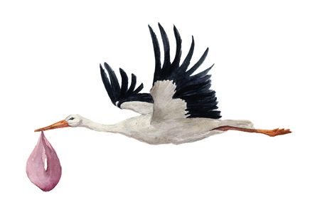 Watercolor hand painted flying white stork with girl baby. Hand painted ciconia bird illustration isolated on white background. For design, prints or background.
