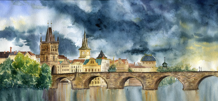charles: Watercolor hand painting Praha and Karlov most. Illlustration with Tower and the bridge, view of the city