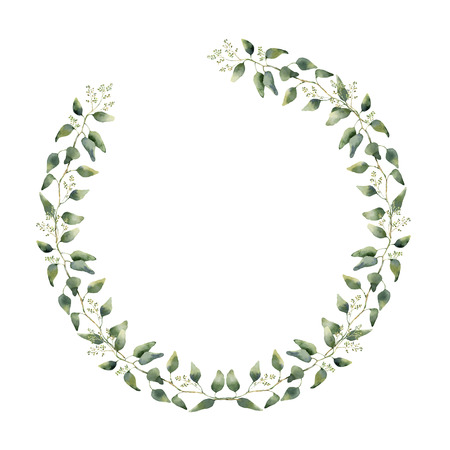 Watercolor floral border with eucalyptus leaves and flowers. Hand painted floral wreath with branches, leaves of eucalyptus isolated on white background. For design or background.