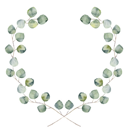 Watercolor floral border with baby and silver dollar eucalyptus leaves. Hand painted floral wreath with branches, leaves of eucalyptus isolated on white background. For design or background. Archivio Fotografico