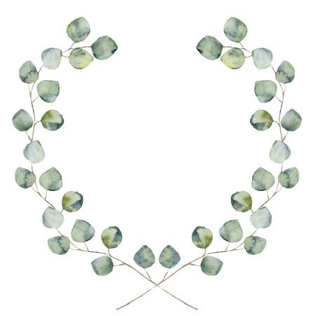 Aquarell floral Grenze mit Baby und Silber-Dollar-Eukalyptus-Blätter. Hand bemalt Blumenkranz mit Zweigen, Blättern von Eukalyptus isoliert auf weißem Hintergrund. Für Design oder Hintergrund. Standard-Bild