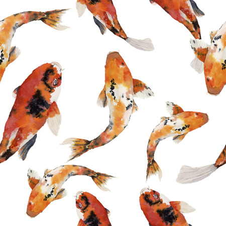 Watercolor oriental rainbow carp seamless pattern. Koi fishes ornament isolated on white background. Underwater illustration for design, background or fabric.