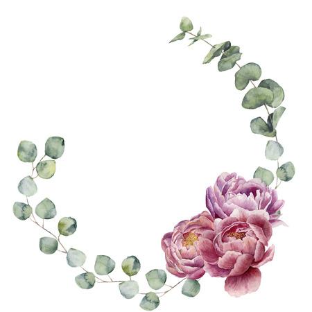 Waterverf bloemenkroon met eucalyptusbladeren en pioenbloemen. Handgeschilderde bloemenrand met takken, bladeren van eucalyptus en bloemen geïsoleerd op een witte achtergrond. Voor ontwerp of achtergrond. Stockfoto